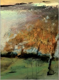 "Contemporary Landscape Artists International: Abstract Mixed Media Landscape Painting ""In The Wind"" by Intuitive Artist Joan Fullerton"