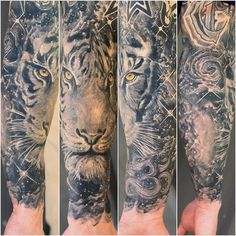 I loved doing this black and grey #space #sleeve with a #tiger. Thanks for looking. #tattoo #tattooed #tattoos #tattooartist #patrickdelvar…