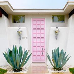 """One Kings Lane on Instagram: """"We fully encourage front door stalking, especially when it looks as good as this pale-pink Palm Springs beauty. Yowza! [ by @coraliereiter via our #howihue feed --thanks for sharing!]"""""""
