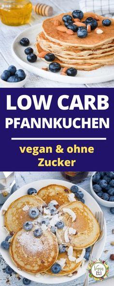 Vegan pancakes – low carb and no sugar – vegan – Eva Homepage Vegan Protein Pancakes, Vegan Crepes, Low Carb Pancakes, Crepe Vegan, Healthy Sweets, Healthy Recipes, Pancakes For One, Vegan Breakfast, Vegan Desserts
