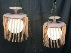 VINTAGE SEA-FOAM PINK BEAD GLASS GLOBE MID-CENTURY HANGING SWAG LAMP LIGHT SET #MidCenturyModern #