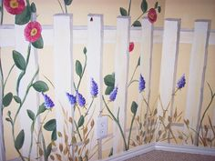 Flowers and picket fence wall murals - Google Search