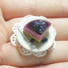Scented Blueberry Cheesecake Slice Miniature Food Ring