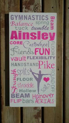 Custom gymnastics sign personalized name art by MamaSaysSigns