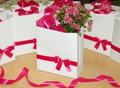 Elegant Gift Paper Bag with satin ribbon and bow by WeddingUkraine gift bag Elegant Gift Paper Bag with satin ribbon and bow - White and Pink - Custom gift Bag with tissue paper - Weddings Gift Favors - Party Favor Custom Gift Bags, Customized Gifts, Party Favor Bags, Birthday Party Favors, Wedding Paper, Wedding Gifts, Wedding Ideas, Wedding Welcome Bags, Christmas Bags