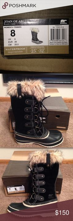 Sorel Joan Of Artic Black Waterproof Winter Boots Black Size 8 Boots with faux fur trim. Brand new last November 2015. Worn maybe 3-4 times. Clean. Store them in original box. Sorel Shoes Winter & Rain Boots
