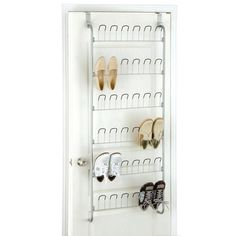 Neu Home 18-Pair Overdoor Wire Storage Shoe Rack in Silver-17701W-1 - The Home Depot