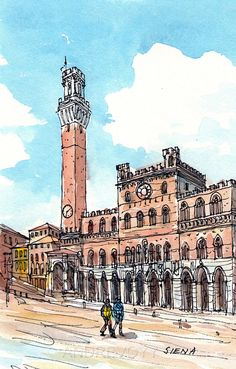 Siena Piazza del Campo art print from an original watercolor painting