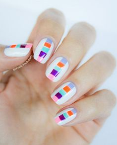A wide range of striped nail designs and nail art ideas and tutorials. Use our guides to get the perfect diy striped nails with or without tape Cute Nails, Pretty Nails, My Nails, Hair And Nails, Nail Art Stripes, Striped Nails, Color Block Nails, Colour Block, Color Blocking