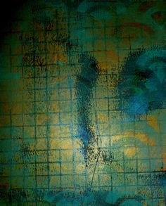 A print from my last Gelli session - Kris Zorko. This was done on black paper using dark teal and metallic gold.