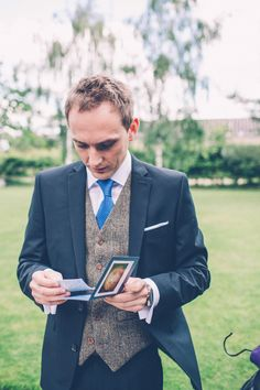 Dark Navy Suit, Tweed Waistcoat, Royal Blue Tie Photography by Casey Avenue www.caseyavenue.co.uk
