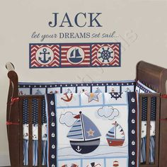 Nautical Boys Room Decal - Personalized Name Wall Decal for Baby Boy Nursery - Anchor Ship Wheel Sailboat Bedroom Decor 22Hx36W BN036 on Etsy, $39.95