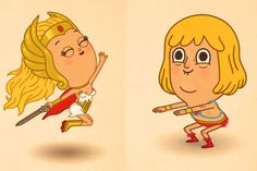 """I was all about some Masters of the Universe as a tyke! He-Man and She-Ra by artist Mike Mitchell (""""Just Like Us"""" exhibit via Gallery 1988, CA - 2012)"""