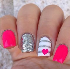 Hot pink with glitter nails