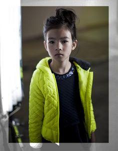 Doudoune légère jaune fluo pour fille, mode IKKS