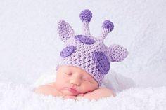 NEW! Newborn Purple Giraffe Newborn Hat, Photography Prop, Baby Hat