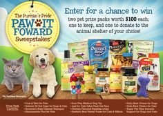 I just entered the Puritan's Pride 'Paw It Forward' Sweepstakes for a chance to win 2 pet prize packs worth $100 each.  You should too!