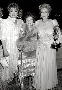 Rue McClanahan, Estelle Getty and Betty White at the 38th Emmys on September 21, 1986.  Golden Girls had just won best comedy, and Betty had won best actress.