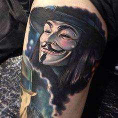 V for Vendetta tattoo by Paul Acker V For Vendetta Tattoo, Vendetta Mask, Cover Up Tattoos, Body Art Tattoos, Cool Tattoos, Tatoos, Tattoo Ink, Anonymous Tattoo, Paul Acker