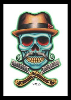 Barber Skull by artist Tyler Bredeweg. Featuring a skull with a mustache and barber straight razors tattoo art design. Fine art printed on heavy weight, semi-gloss cover stock. Canvas Art Prints, Framed Art Prints, Fine Art Prints, Poster Prints, Framed Wall, Barber Logo, Barber Tattoo, Barber Shop, Los Muertos Tattoo