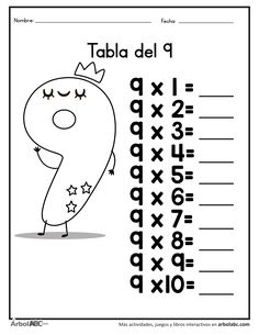 Practica la tabla del 9 | Árbol ABC Math Addition Worksheets, Multiplication Worksheets, Multiplication Tables, Homeschool Worksheets, Number Puzzles, Math For Kids, Good To Know, Classroom, Education