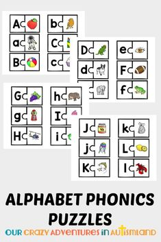 Use these visual puzzles to help your child remember the sounds the letters make. Set your visual learner up for success in the arduous task or learning to read with these fun picture puzzles. Get all 26 letters of the alphabet with a corresponding pictur Alphabet Phonics, Teaching The Alphabet, Teaching Phonics, Alphabet Activities, Homeschool Curriculum Reviews, Homeschooling, Speech Therapy Autism, Occupational Therapy, Teaching Letter Recognition