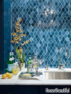 For a bar area in this Greenwich, Connecticut home, designer Ashley Whittaker chose Aladdin tile from Waterworks to conjure up an exotic Moroccan feel.