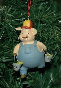 Pig, #porker with slop buckets #christmas #ornament, View more on the LINK: http://www.zeppy.io/product/gb/2/120790632410/