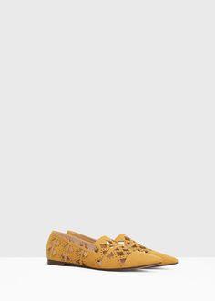 Hegyes alacsonytalpú cipő - Cipők for Női | MANGO Magyarország