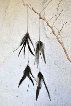 Extra Long Chain Earrings With Black Feathers  Style by jessamurph, $32.00