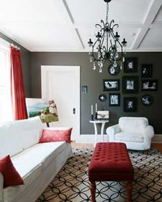 Grey And Red Living Room. LOVE! | For The Home | Pinterest | Red Living  Rooms, Living Rooms And Gray