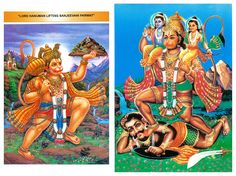 Hanuman Lifting Gandhamadan Parvat and Hanuman with Rama and Lakshman - (Set of Two) (Reprint on Card Paper - Unframed)