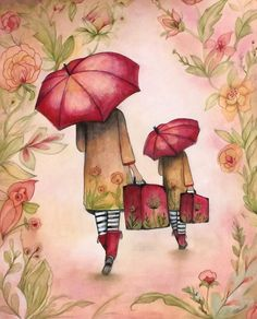 Mother's day with umbrella art print by claudiatremblay on Etsy