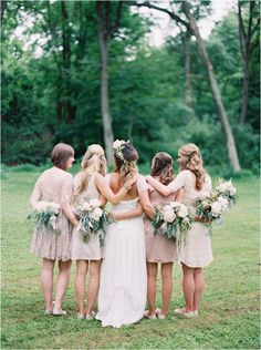 neutral short bridesmaids dresses
