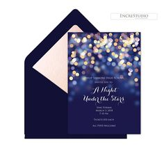 A Night Under the Stars Prom Invitation in navy and gold with classic calligraphy Starry Night welcome sign, poster, Facebook announcement and ticket designs. All wording on this High School Prom invitation and welcome sign, poster, Facebook announcement and ticket design can be changed