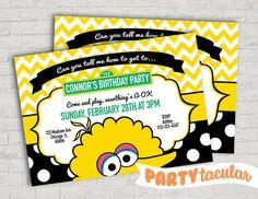 Sesame Street Big Bird Birthday Invitation by PARTYtacular on Etsy
