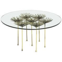 Brutalist Gilt Floral Table with Glass Top in the Manner of Seandel or Jere | From a unique collection of antique and modern coffee and cocktail tables at https://www.1stdibs.com/furniture/tables/coffee-tables-cocktail-tables/
