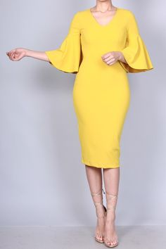 Midi Flare Bell Sleeve Dress