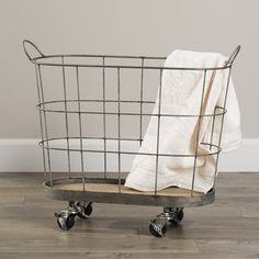 Laskey Rolling Laundry Metal Basket by Birch Lane™ Rolling Laundry Basket, Rolling Storage Bins, Laundry Cart, Fabric Storage Bins, Fabric Bins, Storage Baskets, Laundry Baskets, Laundry Rooms, Laundry Bin