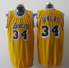 83775cf29 Mitchell And Ness Lakers  34 Shaquille O Neal Yellow Stitched NBA Jersey  Soccer Jerseys