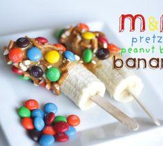 Banana, peanut butter, pretzel and m&m