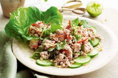 This Thai-inspired dish is perfect for those midweek dinners when you want something quick, easy and light. It doesn't need oil, so the meat has a lovely light, un-fried quality to it. Served with rice, it's a satisfying main meal. Mince Recipes, Pork Recipes, Chicken Recipes, Healthy Recipes, Dishes Recipes, Savoury Recipes, Delicious Recipes, Salad Recipes, Meals Under 500 Calories