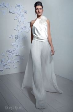 Errico Maria, pantalone bianco plissé