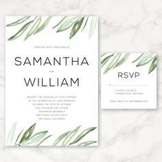 Printable Wedding Invitation  Watercolor Olive by CarraraType