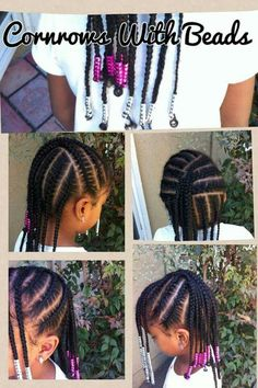 Cornrows with beads Childrens Hairstyles, Lil Girl Hairstyles, Girls Natural Hairstyles, Natural Hairstyles For Kids, Kids Braided Hairstyles, My Hairstyle, Natural Hair Styles, Natural Girls, Infant Hairstyles