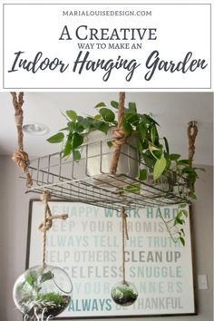 DIY Home Decor and Gardening Ideas for Indoor Plants - A Creative Way to Make an Indoor Hanging Garden display ideas hanging planters Hanging Plants Outdoor, Indoor Planters, Diy Planters, Diy Hanging, Hanging Planters, Indoor Gardening, Hanging Gardens, Organic Gardening, Plants Indoor