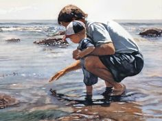 Steve Hanks American) Time With Dad Watercolor Artists, Watercolor Paintings, Impressionist Paintings, Watercolours, Hyper Realistic Paintings, American Artists, Artist At Work, All Art, Strand