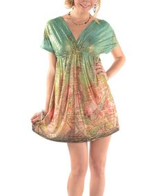 Another great find on #zulily! Green & Orange Paisley Surplice Dress #zulilyfinds