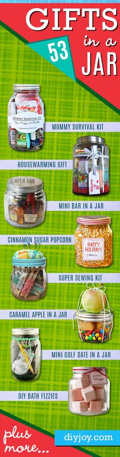 53 Homemade DIY Gifts in A Jar | Best Mason Jar Cookie Mixes and Recipes, Alcohol Mixers | Fun Gift Ideas for Men, Women, Teens, Kids, Teacher, Mom. Christmas, Holiday, Birthday and Easy Last Minute Gifts http://diyjoy.com/diy-gifts-in-a-jar