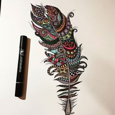 Awesome geometirc and zen themed feather which is by @carovierbuecher with their Chameleon Pens.  #art #artsy #artist #creative #design #doodle #drawing #draw #fineart #geometric #geometricart #instaart  #zentangle #chameleonpens #pen #pencil #animal #black #nature #feather